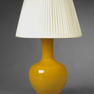 IMPERIAL YELLOW STRAIGHT NECKED VASE LAMP