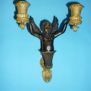 Pair of French Bronze and Ormolu Wall Sconces