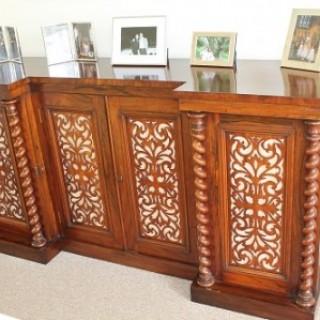 Rosewood Breakfront Dwarf Bookcase