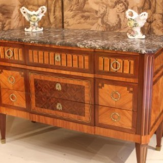 Louis XVI Style Kingwood Tulipwood & Parquetry Marble Top Commode