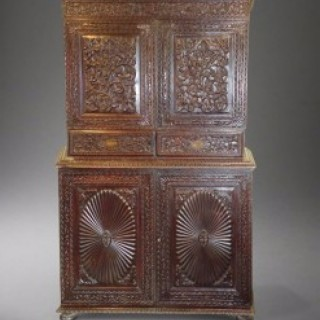 Indian Highly Carved Decorative Two Part Cabinet