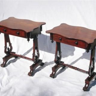 Pair of Cedar & Mahogany Side Tables