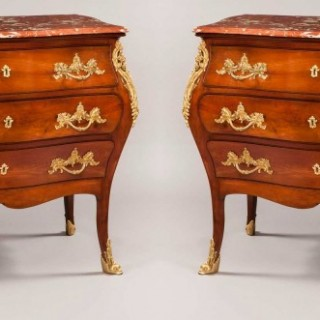 Pair of French  Mahogany and Ormolu Mounted Commodes