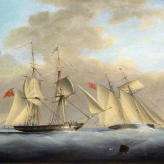 A Royal Navy Brig and Topsail Schooner