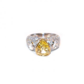 2 Carat Fancy Yellow Diamond Ring