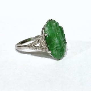 Art Deco Jade and Diamond Ring