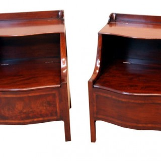 Antique Mahogany Near Pair Of Lancashire Commodes, Or Night Tables