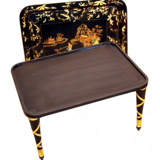 19th Century Papier Mache Tray On Stand With Gilded Decoration