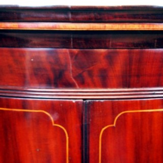 Antique Georgian Mahogany Bow Corner Cupboard