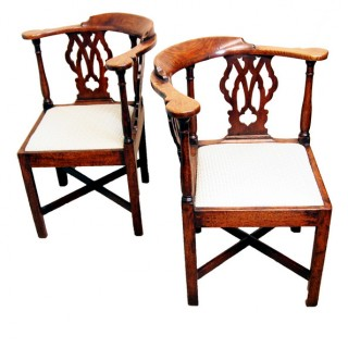 Antique Georgian Pair Of Oak Corner Chairs
