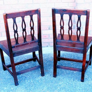 Antique Set Of Six Oak Dining Chairs