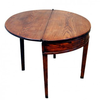 English 18th Century Demi Lune Antique Country Tea Table