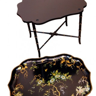 Antique Regency Papier Mache Tray On Stand