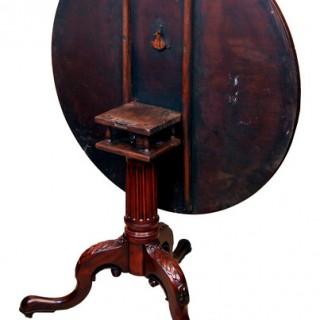 Antique Georgian Mahogany Birdcage Action Tripod Table