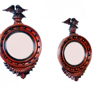 Antique 19th Century Pair Of Mahogany Convex Mirrors