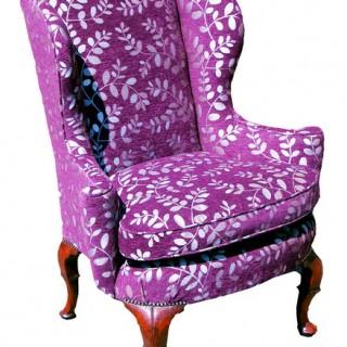 Antique Queen Anne Walnut Wing Armchair