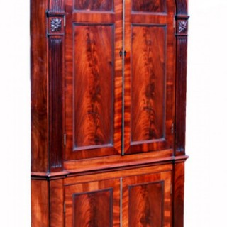 Antique Georgian Mahogany Double Corner Cupboard