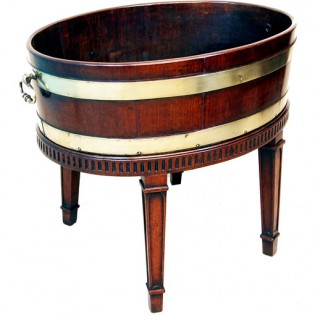 Antique Georgian Mahogany Oval Open Wine Cooler