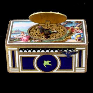A good full enamelled gilt-metal singing bird box, by Karl Griesbaum