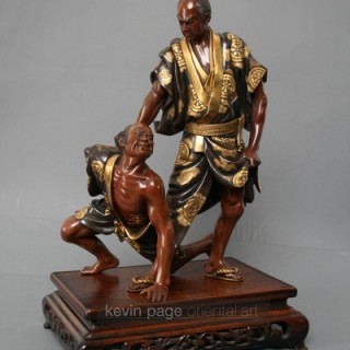 A large Gyoko bronze of Hero Tadamori apprehending the Oil thief