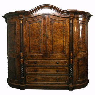 Ayton Castle Burr Walnut Wardrobe and Dressing Table
