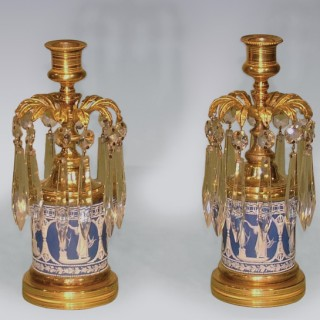 A fine quality pair of George III period ormolu 'jasperware' Lustre Candlesticks