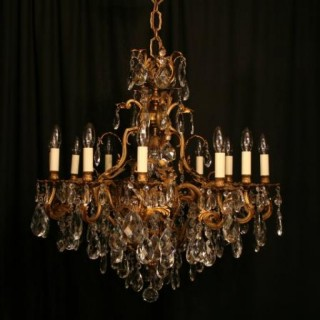 A French Gilded 13 Light Antique Chandelier