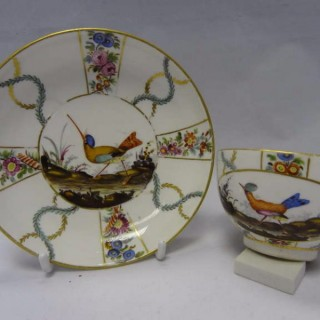 Höchst Porcelain Cup and Saucer decorated with birds and flowers