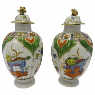 Very Rare Pair First Period Worcester Ovoid Tea Canisters with Covers