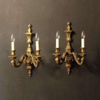 An English Pair Of Bronze Antique Wall Lights