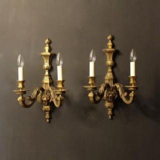 An English Pair Of Bronze Antique Wall Lights