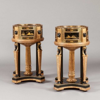Pair of Gilt and Lacquer Jardinières