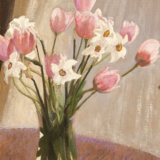 Tulips & Narcissi in a Glass Vase