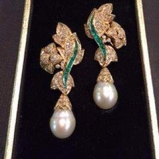 A magnificent pair of  pearl earrings