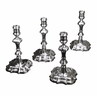 Antique Silver Set of 4 George II Candlesticks