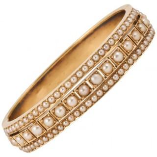 Edwardian Pearl Gold Bangle Bracelet