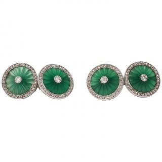Early Art Deco Chalcedony Diamond Platinum Cuff Links