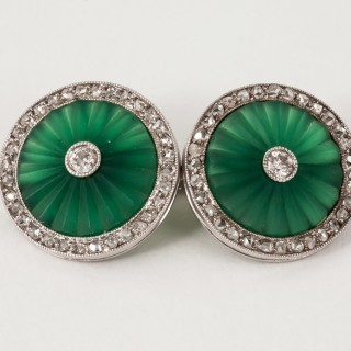 Early Art Deco Chalcedony Diamond Platinum Cuff Links