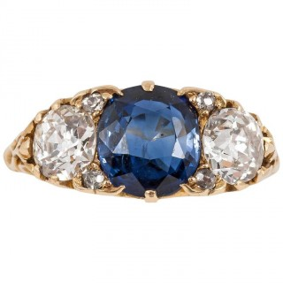 Victorian Sapphire Diamond Gold carved Three stone ring