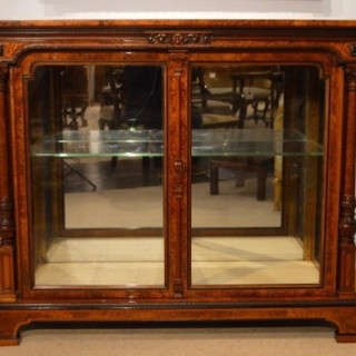 A Stunning Quality Burr Walnut Victorian Period Antique Display Cabinet (1860 to 1870	England)