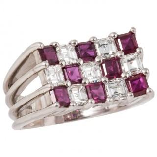 Tiffany & Co. Ruby Diamond Platinum Cocktail Ring