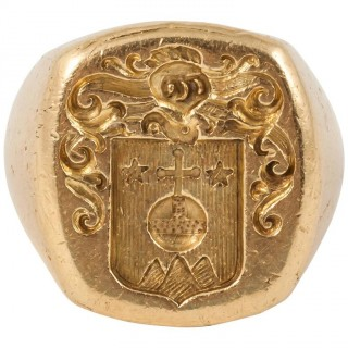 Engraved French Gold Signet Ring