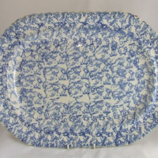 Large blue sponge ware meat plate