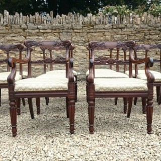 Very Fine Set of 12 Dining Chairs Very Rare Goncalo Alves Timber (c. 1820	England)