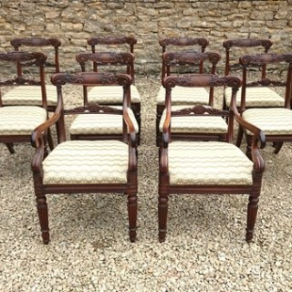 Very Fine Set of 12 Dining Chairs Very Rare Goncalo Alves Timber (c. 1820England)