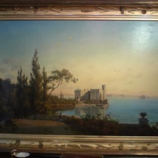 19th Century Oil Painting of Castello di Miramare (1875Italy)