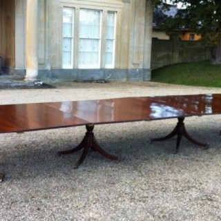 1790 Antique Four Pedestal Mahogany Dining Table 19 Foot Long (c. 1790 England)