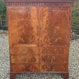 18th Century Flame Mahogany Wardrobe Linen Press (c. 1770	United Kingdom)