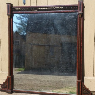 19th Century Amboyna Aesthetic Overmantal Mirror (c. 1870United Kingdom)
