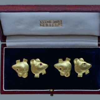 Charming Mouse Gold Cufflinks